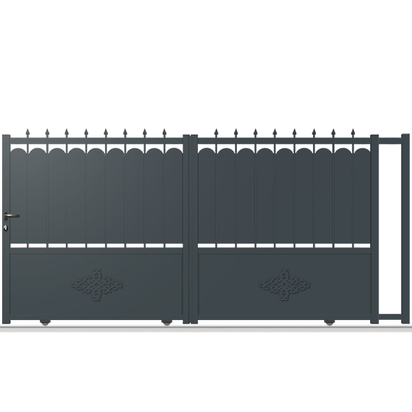 portail aluminium coulissant fer forg tr03 a portail coulissant tradition. Black Bedroom Furniture Sets. Home Design Ideas