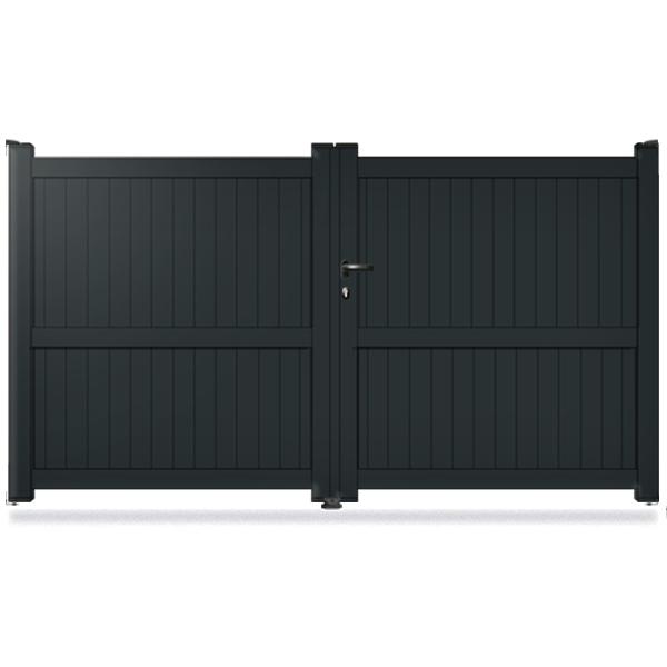 portail aluminium battant plein gris 7016 promotion portail aluminium battant. Black Bedroom Furniture Sets. Home Design Ideas
