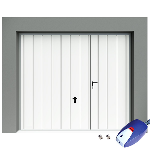 porte de garage basculante avec portillon motoris e rainures larges verticales porte. Black Bedroom Furniture Sets. Home Design Ideas