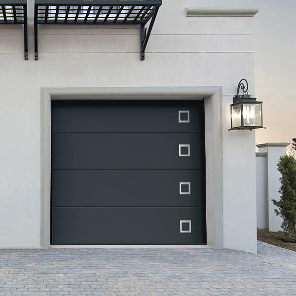 Porte de garage sectionnelle moderne fuji lisse grise anthracite ral 7016 porte sectionnelle - Porte de garage design ...