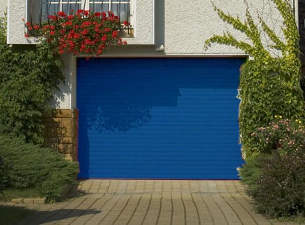 Porte de garage enroulable aluminium 240 x 200 bleu 5010 for Porte garage sectionnelle enroulable