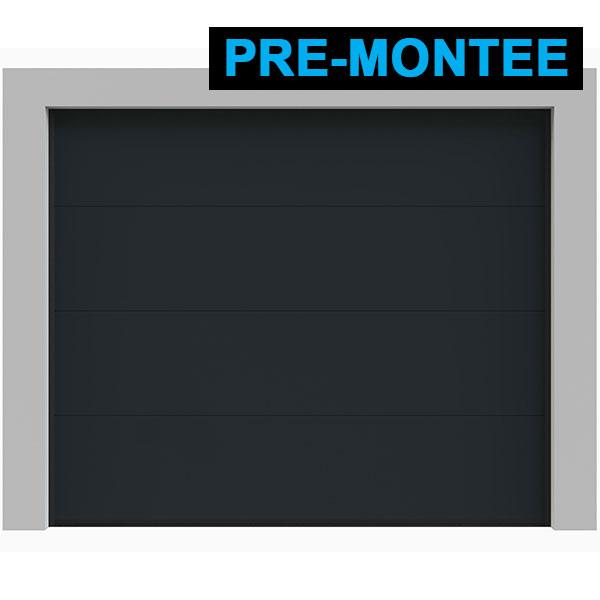 Porte de garage sectionnelle pr mont e lisse grise ral - Porte de garage sectionnelle premontee ...