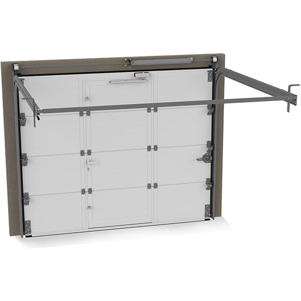 Porte de garage sectionnelle avec portillon lisse grise porte sectionnelle - Porte de garage sectionnelle grise ...