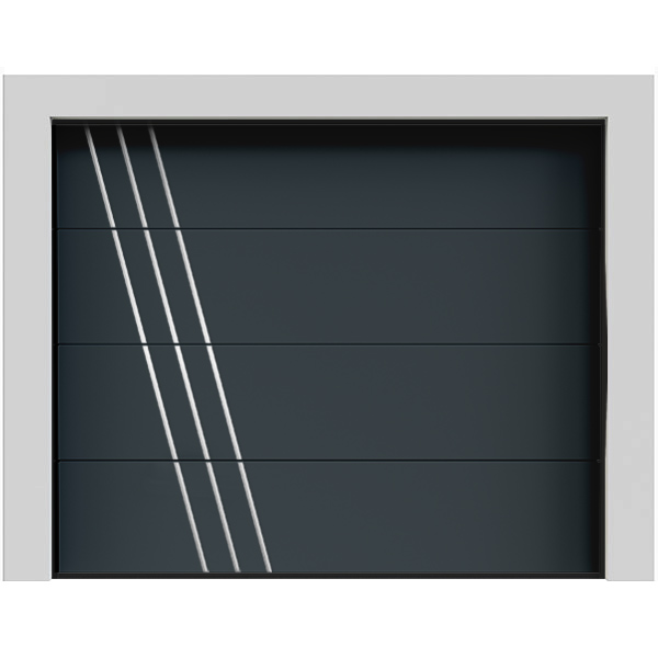 Porte de garage sectionnelle gris anthracite moderne Everest avec alunox