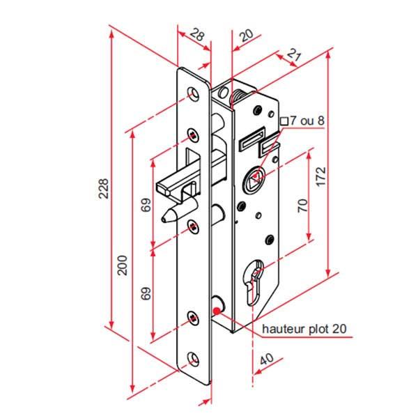 Serrure crochet pour portail aluminium coulissant for Dimension portillon