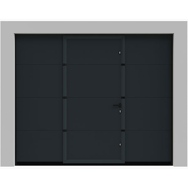 porte de garage sectionnelle avec portillon lisse grise. Black Bedroom Furniture Sets. Home Design Ideas