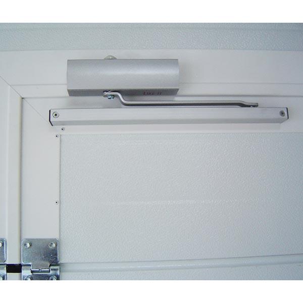 Porte de garage sectionnelle avec portillon lisse porte for Porte garage promotion