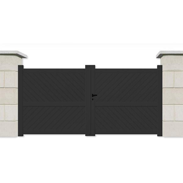 Portail aluminium battant plein gris portail battant for Portail battant alu gris