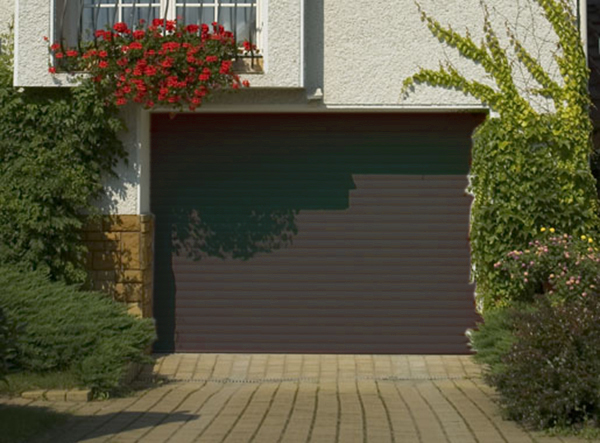 porte de garage enroulable aluminium 240 x 200 marron 8019. Black Bedroom Furniture Sets. Home Design Ideas