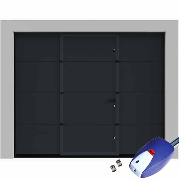 porte de garage sectionnelle lisse grise avec portillon int gr motoris e porte sectionnelle. Black Bedroom Furniture Sets. Home Design Ideas
