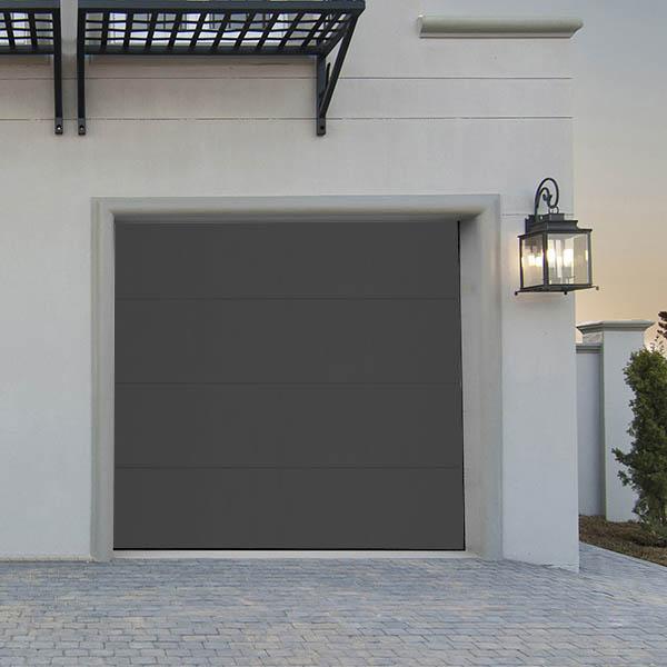 Porte de garage sectionnelle lisse motoris e grise porte for Porte de garage neo10