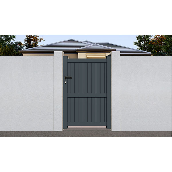 Portillon aluminium droit plein gris 7016 promo portillon for Portillon aluminium